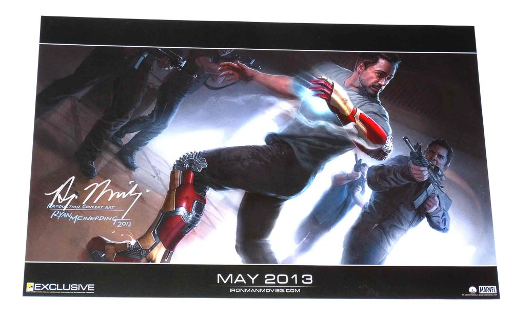 Iron Man 3 SDCC Exclusive Print Signed w/COA Ryan Meinerding 2013 Marvel  Rolled 13 x 20