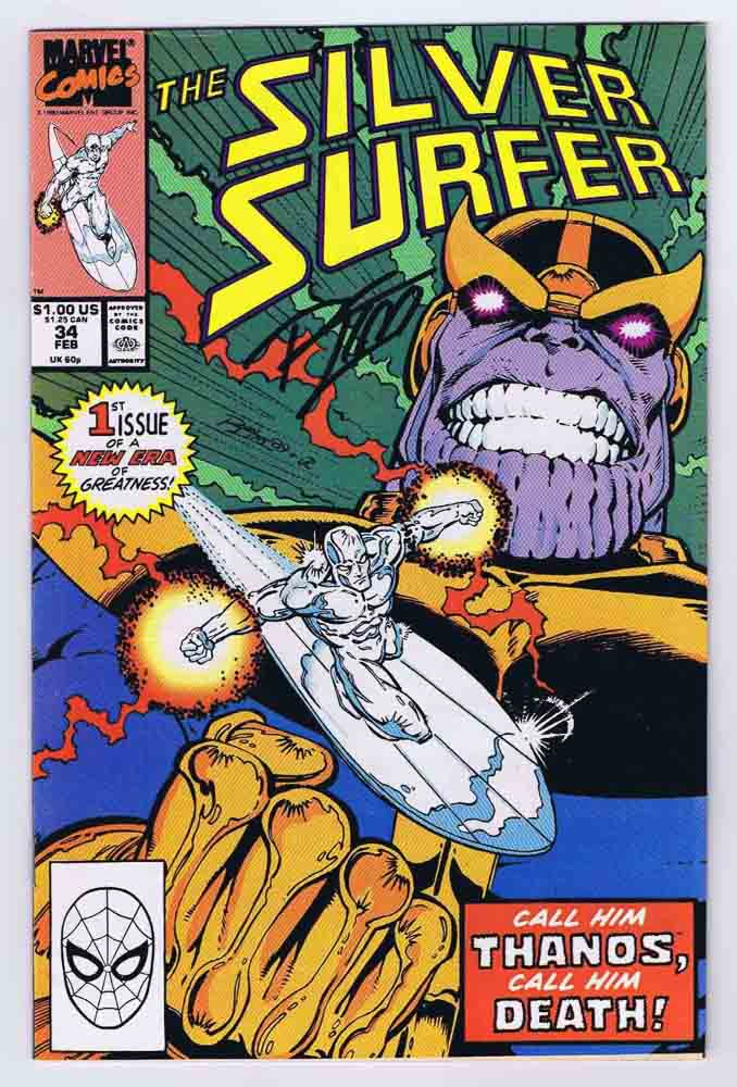 silver surfer 34 vf nm signed w coa ron lim thanos infinity