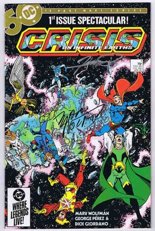 Crisis On Infinite Earths #1 VF\NM Signed w/COA Marv Wolfman & George Perez 1985 DC