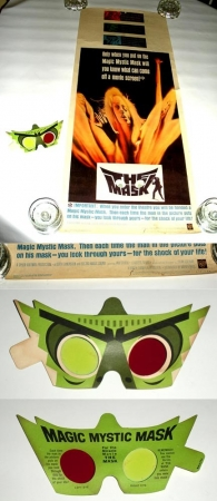 The Mask Movie Poster Insert Vintage 1961 w/Original Pair of 3-D Glasses CGC