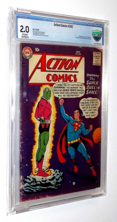 Action Comics #242 CBCS 2.0 CTOWP 1958 Unrestored 1st App Brainiac & Kandor DC